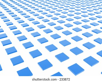 A grid formed by shiny blue boxes.
