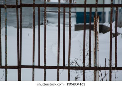 Grid metal, rusty fence. On the street the winter season.