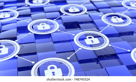 Grid with padlock network floating above blue cubes with different height cybersecurity concept 3D illustration