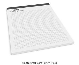 grid paper notepad on white background (3d render)