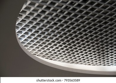 Grid structure of suspended ceiling in an office building. Abstract modern architecture. Generic image of contemporary interior design. Geometric composition with oval shape.
