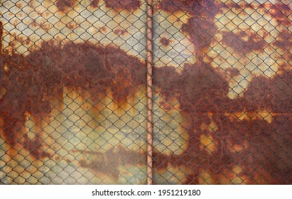 grids of metal over an old rusty corroded plank in the background with creepy marks - weathered textured wallpaper