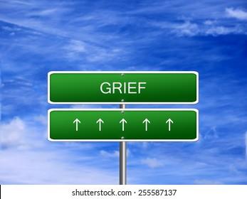 Grief emotion negative feeling concept background sign.