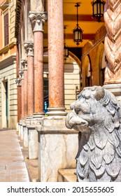 Griffin sculpture near the Portici Savini in Corso de Michetti, , Teramo, Italy,