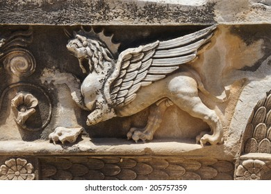 Griffin sculptures, winged mythical creature,  at Didyma,  Turkey