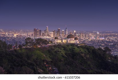 Griffith Observatory and downtown Los Angeles at night