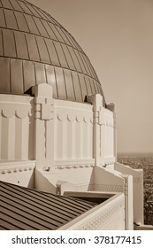 Griffith Observatory in late afternoon with Los Angeles, California in the background