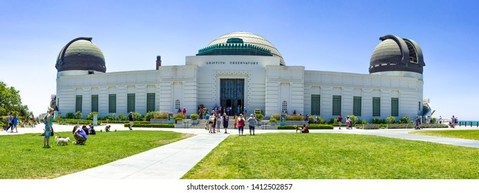 Griffith Observatory, Los Angeles, California USA- July 4 2018: The Building of Griffith Observatory with blue sky background.