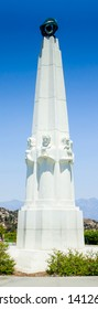Griffith Observatory, Los Angeles, California USA- July 4 2018: The Statue in front of Griffith Observatory with blue sky background.