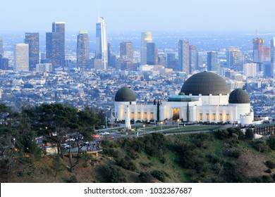 Griffith Observatory Park with Los Angeles Skyline at Dusk. Los Feliz neighborhood, Los Angeles, California, USA.