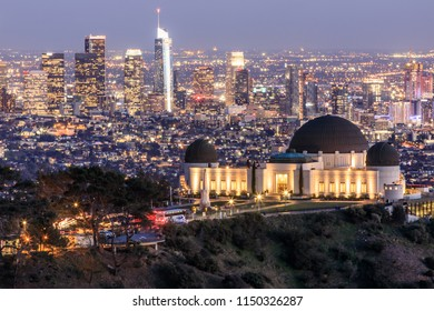 Griffith Observatory Park with Los Angeles Skyline at Dusk. USA