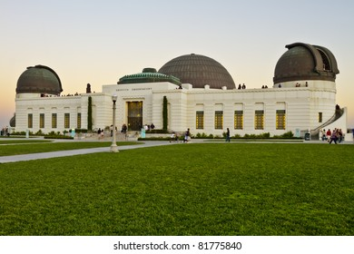 Griffith Observatory at the top of the mountain in Griffith Park in Los Angeles.