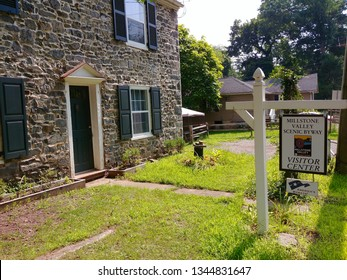 Griggstown, NJ - August 7 2018: The historic bridgetender's house that currently serves as the visitor center to the Millstone Valley Scenic Byway in Delaware and Raritan Canal State Park