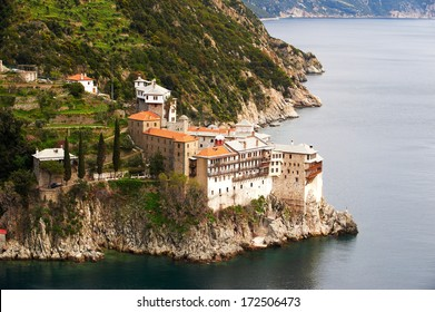 Grigoriou monastery, view from the north, Mount Athos, Greece