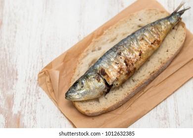 griiled sardine on bread