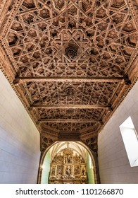 GRIJALBA DE VIDRIALES, ZAMORA, SPAIN - SEPTEMBER 12, 2017:Coffers of the parish church, a sixteenth-century treasure, decorated with beautiful ornaments in the wood