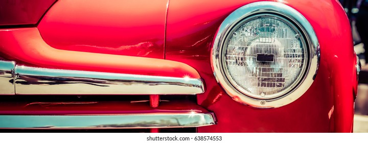 The grill of a 1948 classic car.