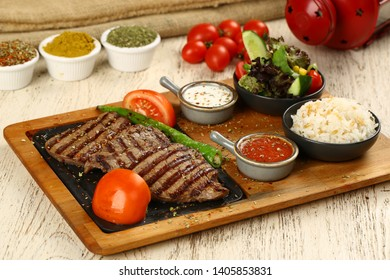 Grill beef steak fillet on wooden board