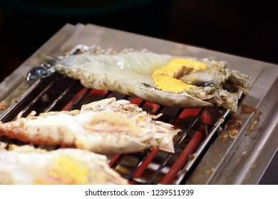 grill giant fresh water prawn, street food Thailand.