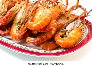 Grill giant river prawn on dish background