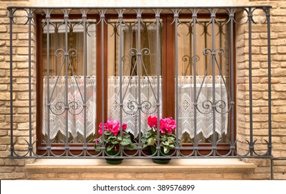 Grill over window with two flowers