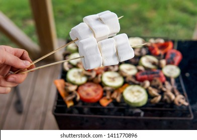 Grill party in a garden. Healthy food preparing outdoors on summer or spring picnic.