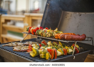 Grill party on the holiday camp