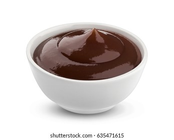 Grill sauce in bowl isolated on white background with clipping path