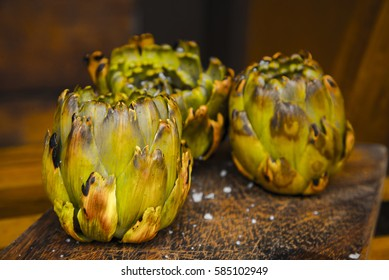 Grilled artichokes traditional vegan recipe