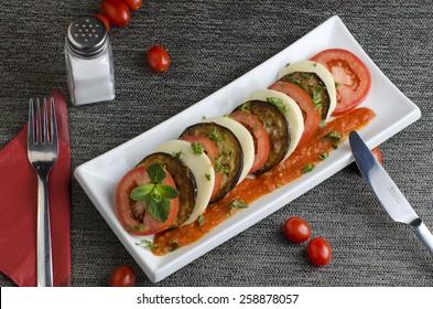 Grilled aubergine,tomato and mozzarella