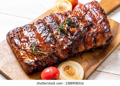 grilled and barbecue ribs pork