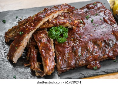 Grilled Barbecued Pork Baby Back Ribs, close up