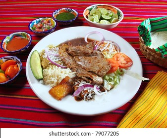 Grilled beef fillet assorted mexican dish chili sauce and tortillas