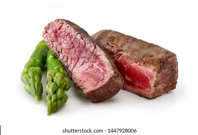 grilled beef wagyu steak meat with asparagus isolated on wight background