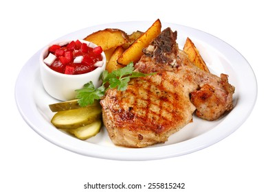 Grilled beefsteak served with potatoes and sauce