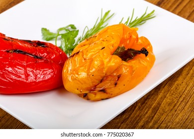 Grilled Bell Peppers with rosemary and parsley