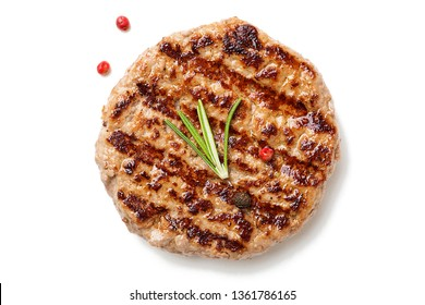 Grilled burger meat isolated on white background, top view.