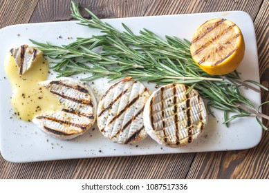Grilled Camembert cheese with rosemary
