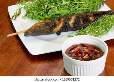 Grilled catfish and neem leaf which has blossom and sweet sauce, Thai season food / Select focus