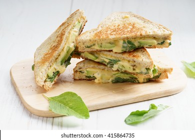 grilled cheese sandwich with avocado and spinach