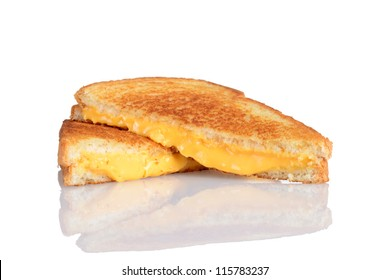 Grilled cheese sandwich with reflection