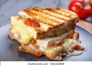 Grilled Cheese Sandwiches Cut in Half with Melted Cheese, Tomatoes and Spinach
