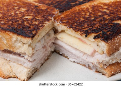 grilled cheese, turkey and apple slices on toasted french bread
