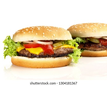 Grilled Cheeseburger and Hamburger on White