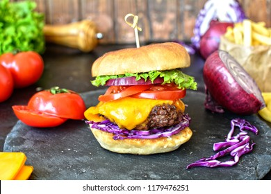 Grilled Cheeseburgers with French Fries - preparation photos