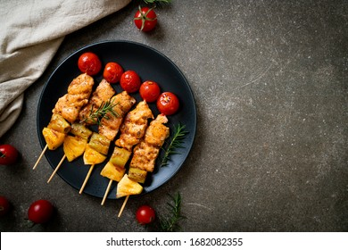 grilled chicken barbecue skewer on plate