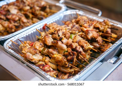 Grilled chicken BBQ on plate in buffet corner