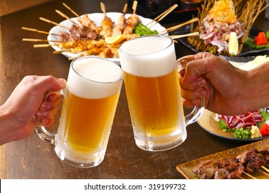 Grilled chicken and beer