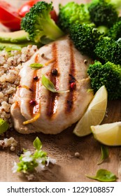 Grilled chicken breast with broccoli and a quinoa. Healthy eating