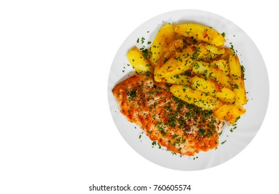 Grilled chicken breast with potato in a plate with copy space. top view. isolated on white